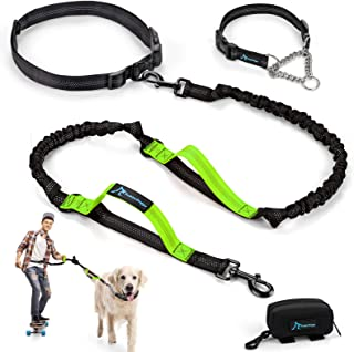 PuppyDoggy Hands Free Dog Leash Reflective 6 ft for Large and Medium Dogs with Adjustable Waist Belt & Chain Martingale Do...