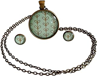 Poppies and Thyme Pendant Necklace for Women, Stunning Fashion Necklaces - Simple Circle and Boho with Matching Earrings. Light and Small Pendant Necklace 1.2 inch