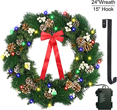 "Christmas Wreath with LED Lights - 24"" Prelit Xmas Door Wreath - Artificial Pine Cone Garland - Battery Operated String Light - Including Wreath Hanger, Snowflake, Pine Cone, Ornaments Decorations"