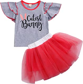 YOUNGER TREE Easter Kids Toddler Baby Girls Dress Outfit Bunny Rabbit Short Sleeve T-Shirt Top+Tutu Skirt Summer Clothes Set