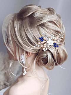 Vakkery Flower Wedding Hair Comb Slides Silver Crystal Bride Headpiece Pearl Bridal Hair Accessories for Women and Girls (Pack of 2)