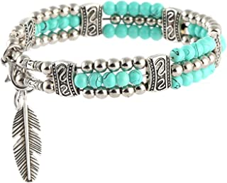 HZMAN My Lucky Feathers Pendant Bracelet Tibetan Silver Alloy Turquoise Beads