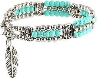 HZMAN My Lucky Feathers Pendant Bracelet Tibetan Silver Alloy Turquoise Beads