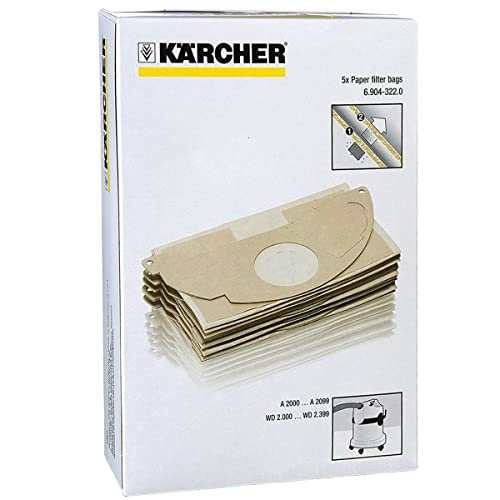 Karcher MV2 WD2 Vacuum Cleaner Strong Double Layer Dust Bags (Pack of 5)