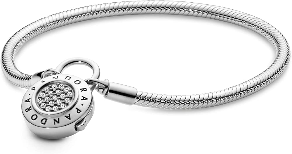 bracciale pandora moments da donna con maglia snake e chiusura a lucchetto con pavé in argento 925 597092cz-17