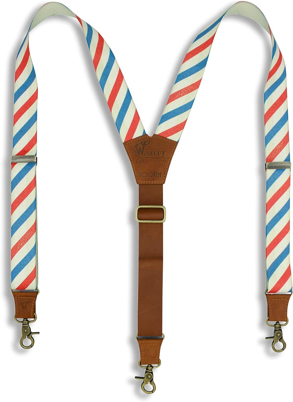 Suspenders Schorem Barber Pole Striped Leather Flex Wide 1.36 inch | Wiseguy Original