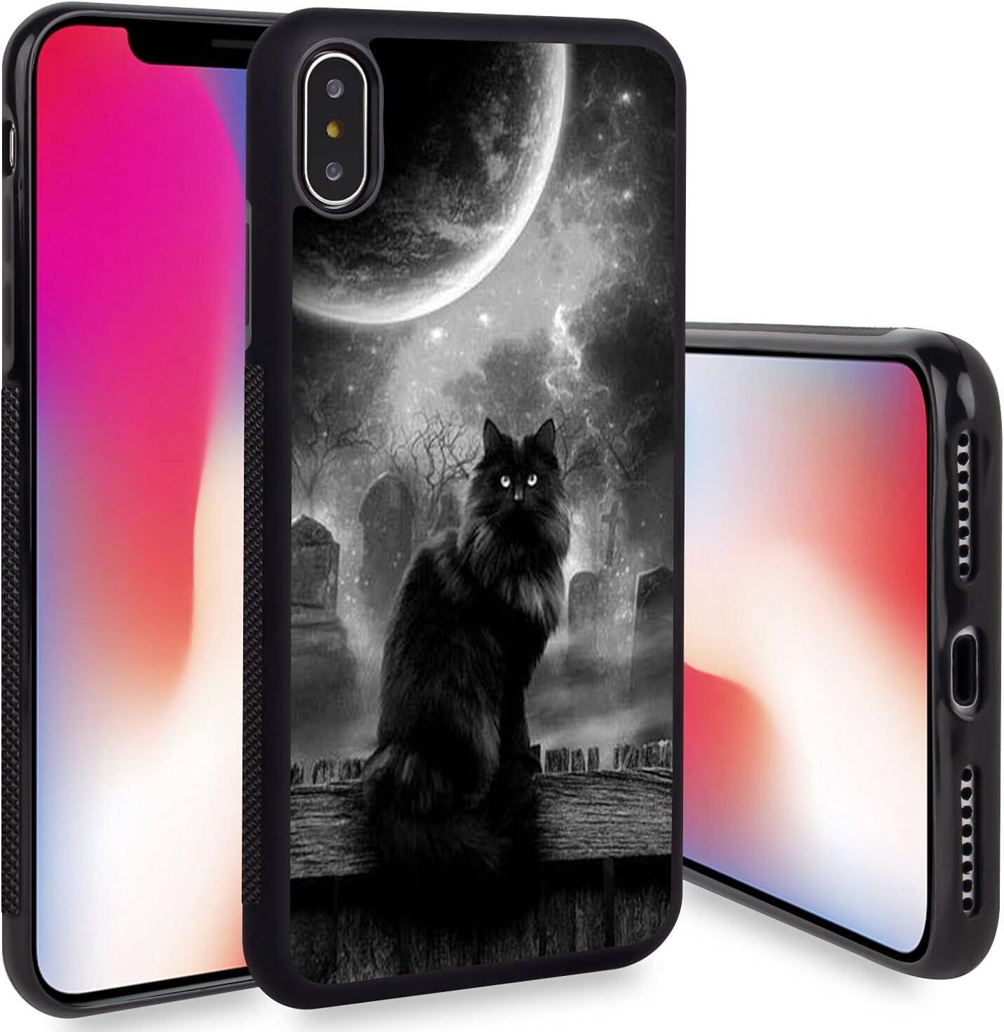HAIGUQI iPhone X iPhone Xs Case Black Cat Pattern Shockproof Slim TPU Rubber Material Black Frame Cellphone Mobile Case