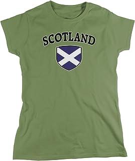 Amdesco Women`s Scotland Flag Shield, Scots Scottish Pride T-Shirt