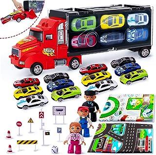 Rolytoy VraiJouet Coche Juguete Niños Camión Transportador Portátil con 12 Coches y 3 Muñecas 2 Mapas 9 Señal de tráfico para 3 años Buen Regalo a niños