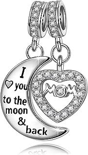 NINAQUEEN Ti Amo Mamma Charm Originali Argento Sterling 925 Luna Ciondoli Zirconia Regalo Donna Idee Regali Compleanno Fes...