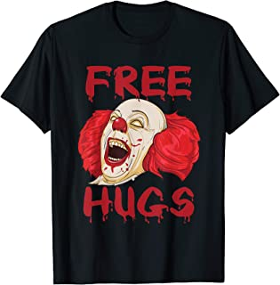 Free Hugs T Shirt Evil Killer Scary Clown Halloween Gift Tee T-Shirt