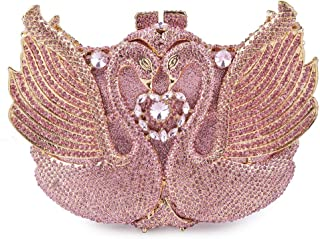 Runhuayou Rhinestone Crystal Swan Pink Banchetto Party Even Bag Luxury Crystal Diamond Chain Shoulder Bag Tote Wedding Bride Clutches Bags for Women Suitable for Females of All Ages on Any Occasions
