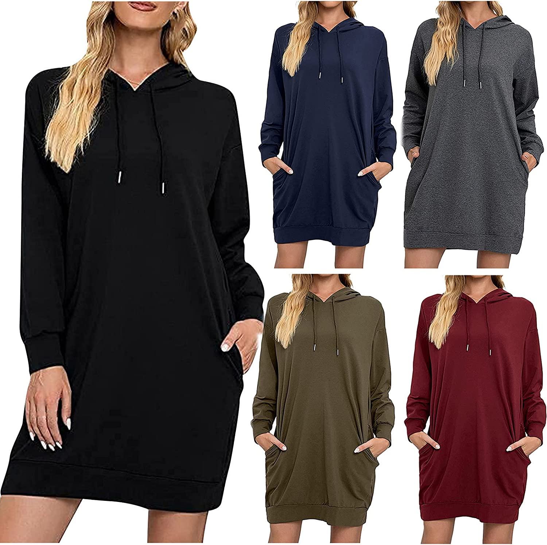 Hoodies Dress for Women Casual Solid Color Beach Sundress Long Sleeve Hooded Sweatshirt Dresses Drawstring Midi Skirt