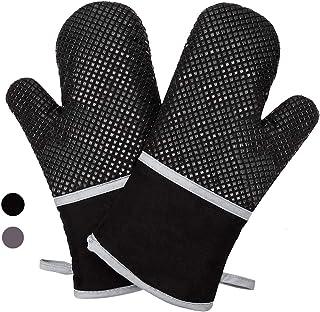 Anpole - Guantes de silicona para horno, resistente al calor, forro de algodón suave con superficie antideslizante, guantes dobles para horno, cocina, horneado, parrilla, barbacoa - 1 par