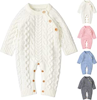 Camidy Unisex Newborn Baby Knitted Romper Long Sleeve Button Closure Jumpsuit Bodysuit
