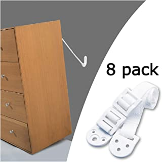 Kiddo House Anchors for Baby Proofing-8 Pack-Anti Tip Kit Protect Children From Falling - Adjustable Straps - For Dressers, Tv, Bookshelves And Other Furniture, White