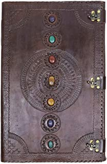 Skyland Leather Journal Real Stone Seven Chakra Medieval Stone Embossed Handmade Book of Shadows Notebook Office Diary Col...