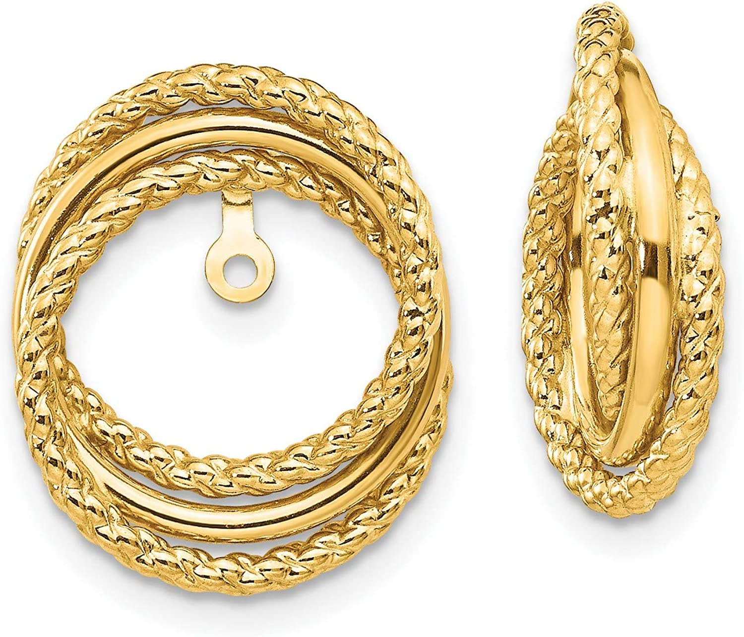 14k Yellow Gold Polished and Twisted Fancy Earring Jackets 16x12 mm