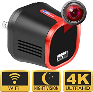 MCSTREE 4K Wireless Security Hidden Camera,USB Charger Indoor Spy Camera Surveillance Nanny Mini Camera with Night Vision,Motion Detection,160 Ultra Wide Angle