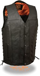Men's MOTORCYCLESINGLE Panel Soft with 2 Gun Pockets & Side Lace Leather Vest