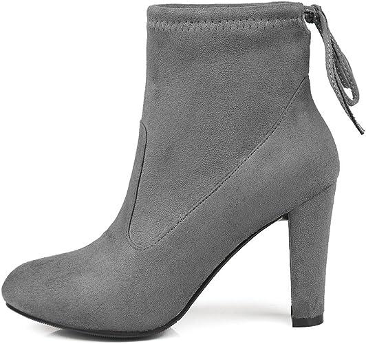 DYF Chaussures femmes Bottes courtes Martin Bride rugueux de couleur solide,gris foncé,41