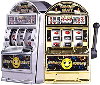 Slot Machine Toy, 2PCS Mini Casino Lucky Lottery Game Machine Bars and Sevens Slot Machine Bank with Spinning Reels Creative Gift
