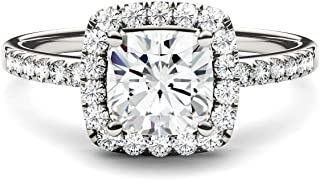 14K White Gold Moissanite by Charles & Colvard 6mm Cushion Engagement Ring, 1.40cttw DEW