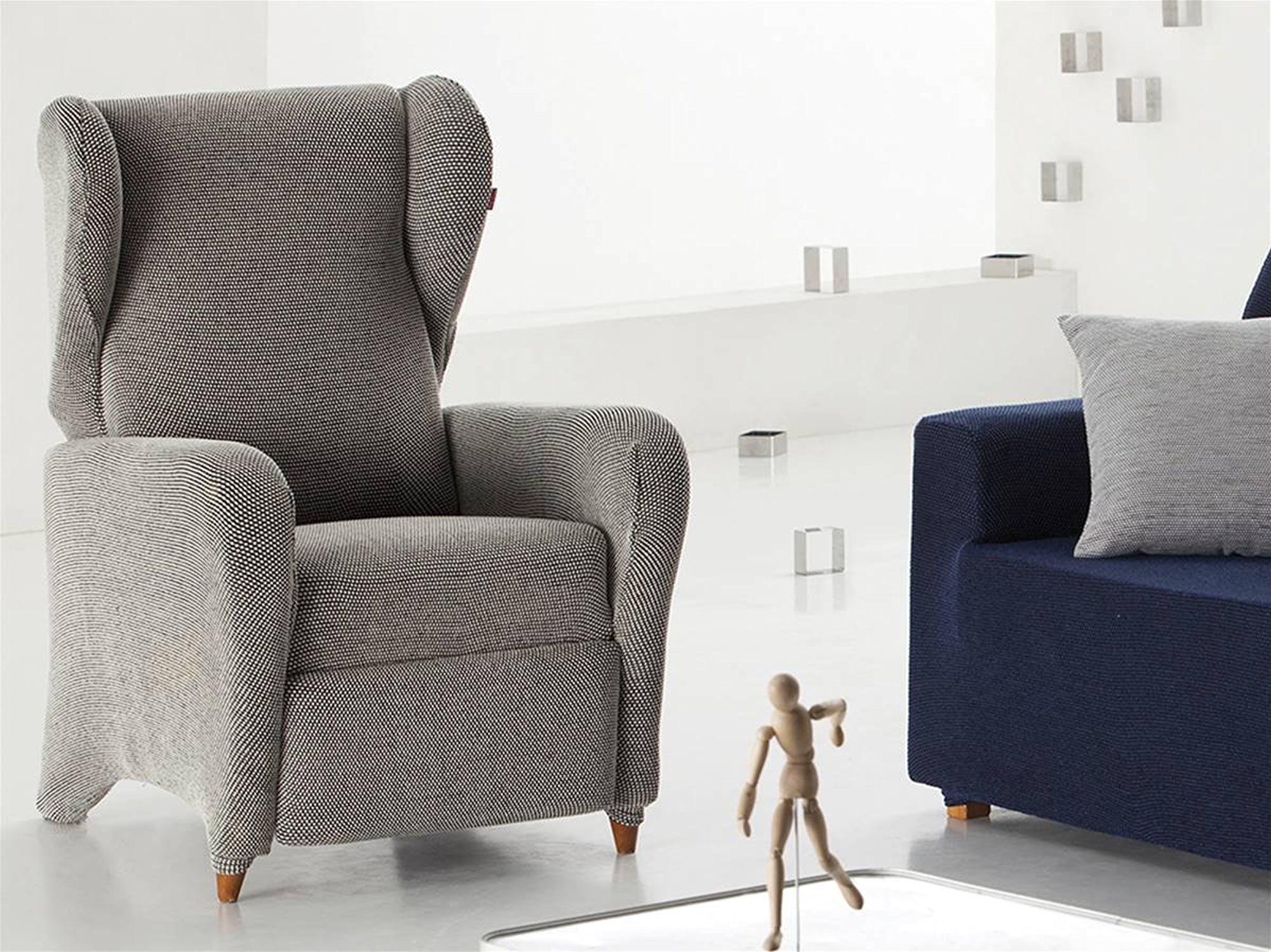 Lanovenanube Housse fauteuil angelo Relax Couleur gris Moderne Relax 1 plaza ecru