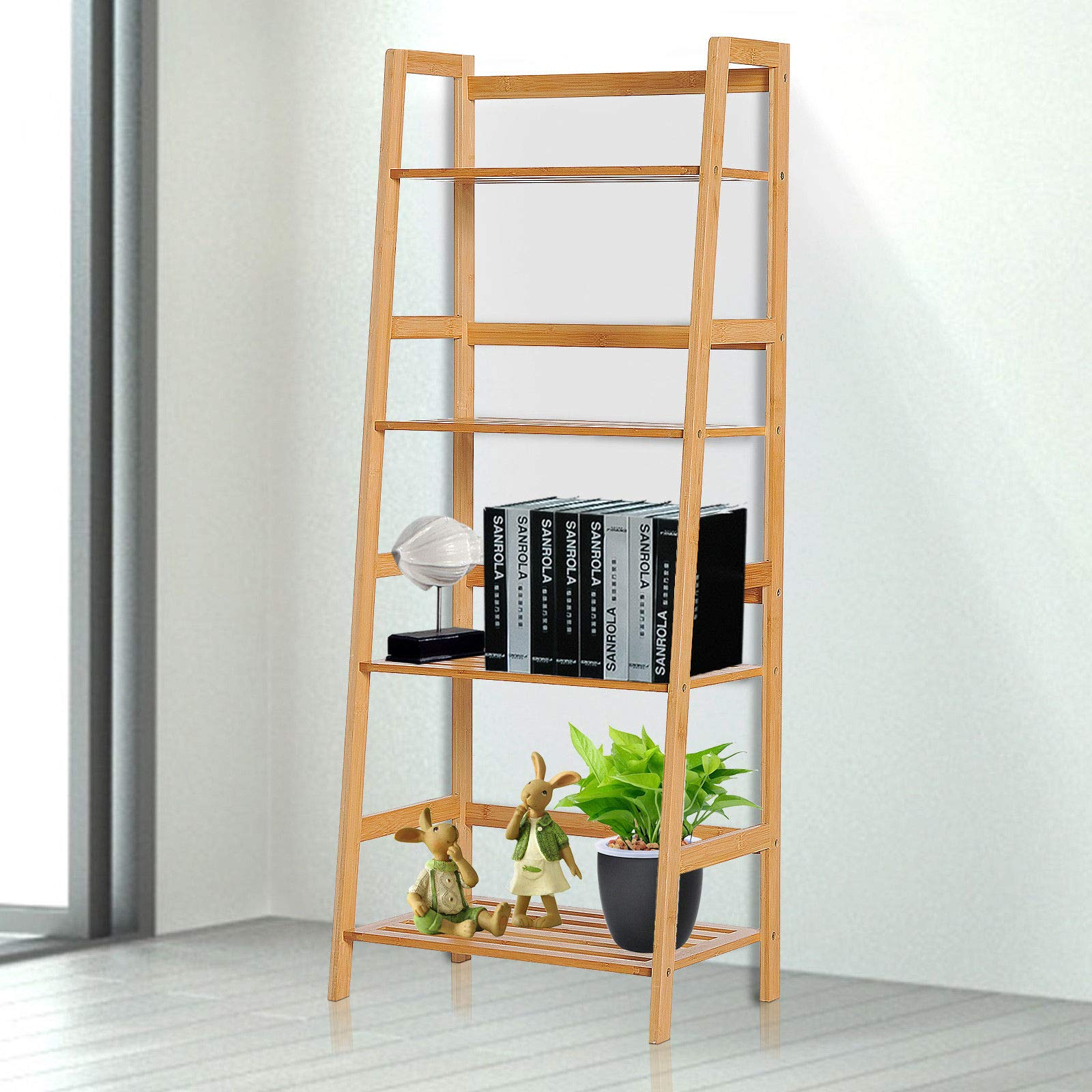 Estantería para librería Mboo Lad, estantería de Escalera para Bricolaje y estantes, Soporte para Plantas de Estudio con Escalera de bambú y Soporte H para Plantas: Amazon.es: Electrónica