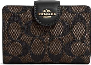 کیف پول زیپ گوشه متوسط مربی زنان با بوم امضا (قهوه ای - مشکی)