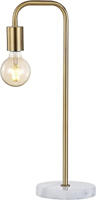 """JONATHAN Y JYL1094A Axel 20.5"""" Minimalist Pipe Metal/Marble LED Lamp Classic,Glam,Transitional for Bedroom, Living Room, Office, College Dorm, Coffee Table, Bookcase, Brass Gold/White"""