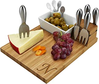 Picnic at Ascot Personalized Monogrammed Engraved Bamboo Cutting Board for Cheese & Charcuterie with Knives, Ceramic Bowl,...