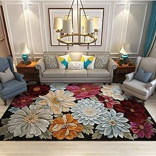Vintage Area Rugs 3D Stereo Flower Soft Velvet Carpet Living Room Bedroom Floor Mat Home Decor Easy to Clean (Rectangle 150 x 200 cm)