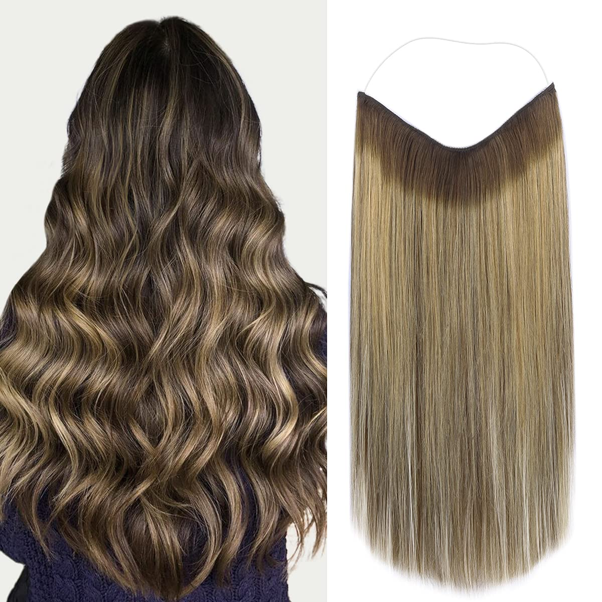 Marat Halo Hair Extensions Balayage safety Brown Caramel Oakland Mall Chocolate to