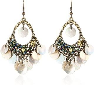 BaubleStar Bohemian Chandelier Dangle Earrings with Disc Charms Drop Lightweight Filigree for Women Girls