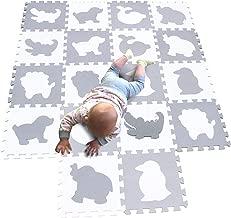 MQIAOHAM Children Foam Play mat Baby mats for Floor Sensory Babies Carpet Kids Animals Childrens Rug Jigsaw playmats Rugs Soft Tiles Crawling Animal Crawl White Grey P051BH