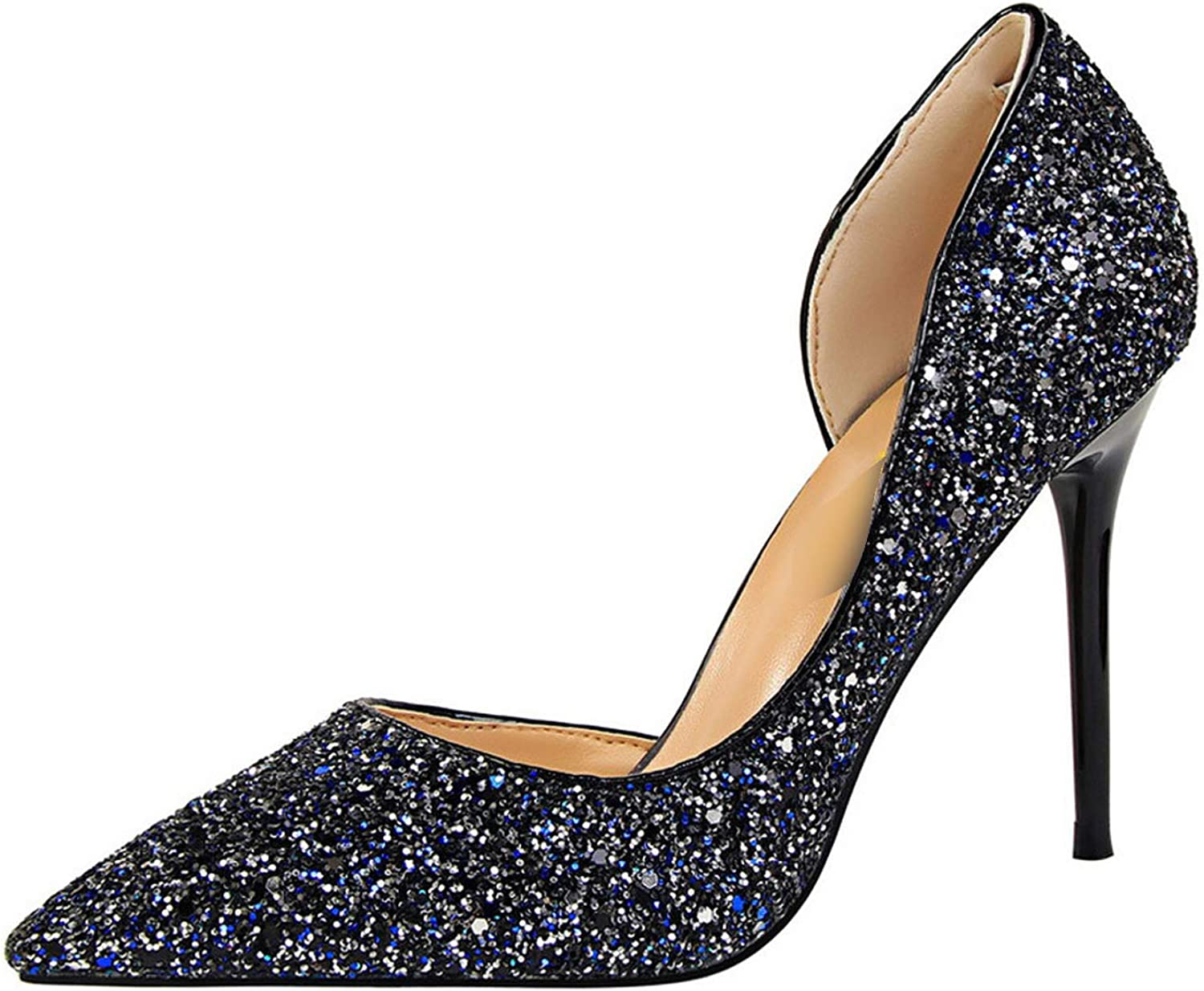 Milk Maniac 2019 Women Pumps Summer shoes Pump Sexy High Heels Lady shoes Thin Heel Sequins Bling,Navy bluee,37