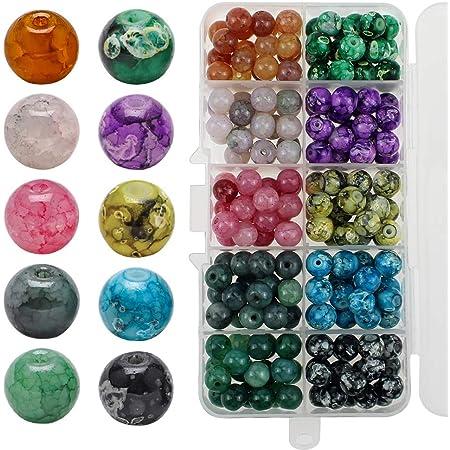 UBERMing Cuentas Redondas de Vidrio 200 Piezas 8mm Cuentas de Cristal Craquelado de 10 Colores para Hacer Pulseras Manualidades DIY Collares Bisutería