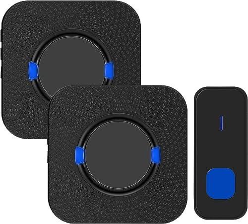 Wireless Doorbell,Rimposky Waterproof Door Bells & Chimes Wireless Kit,Over 300-Meter Range,55 Door Bell Chime,5 Volu...