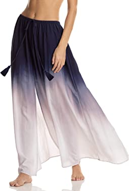 Illusion Dip-Dye Front Slit Skirt Cover-Up