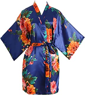 Peony Floral Silk Kimono Robe Bridal Bridesmaid Robes Dressing Gown for Women