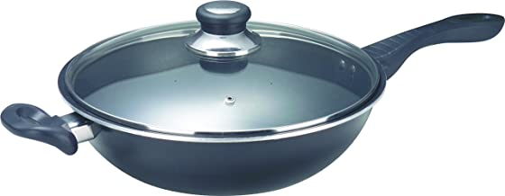 ASD HP8332GL-RD Non-Stick Skillet Wok with Glass Cover, 32cm