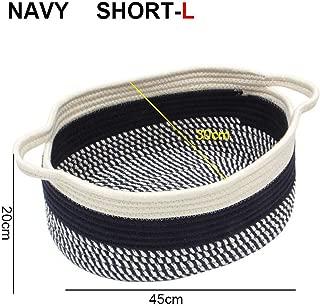 fantasticlife06 Handmade Nature Cotton Fabric Basket For Toys Organizer Dirty Clothes Hamper Shopping Picnic Basket,Navy-Short-L