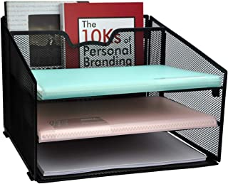 Besource Mesh Office Desktop Organizer, Desk File Organizer Sorter with 3 Paper Letter Tray and 1 Vertical Section Office ...