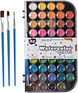 Watercolor Paint, 48 Colors Watercolor Paints Pan Set with 3 Paint Brushes Perfect for Kids Beginners Adults Watercolor Pa...