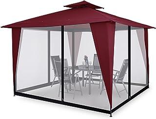 Deuba Moskitonetz für Pavillon Sairee | Klettbänder für leichtes Befestigen | 2 Reißverschlüsse | 350x350x220cm | Wabenstruktur