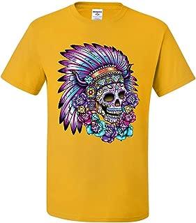 Sugar Skull Headress T-Shirt Calavera War Bonnet Day of The Dead Tee Shirt