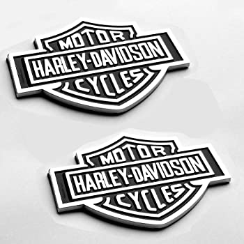 Foxxi Custom 2X Harley Fender Door Side Tailgate Flat Emblem Badges Nameplate For F150 Davidson Motorcycle Glossy Black
