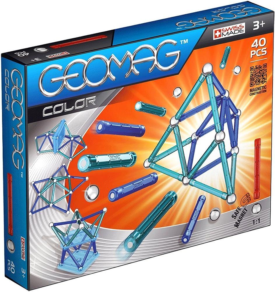 Geomag classic color 252 costruzioni magnetiche e giochi educativi, multicolore, 40 pezzi