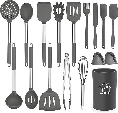 Silicone Cooking Utensil Set, AILUKI Kitchen Utensils 17 Pcs Cooking Utensils Set,Non-stick Heat Resistant Silicone,C...